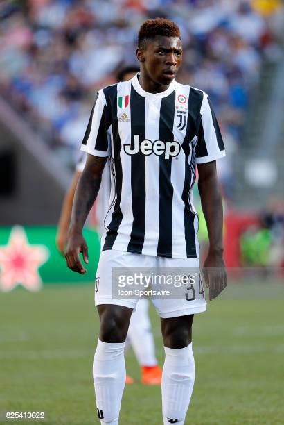 Juventus forward Moise Kean during an International Champions Cup match between AS Roma and Juventus on July 30 at Gillette Stadium in Foxborough...