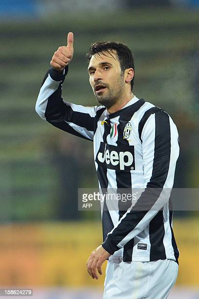 Juventus' forward of Montenegro Mirko Vucinic celebrates after scoring a goal during the Serie A football match between Cagliari and Juventus at...