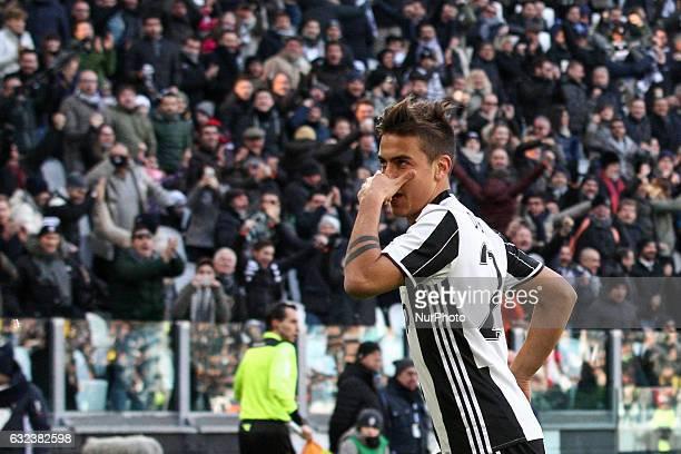 Juventus forward Paulo Dybala celebrates after scoring his goal during the Serie A football match n21 JUVENTUS LAZIO on at the Juventus Stadium in...