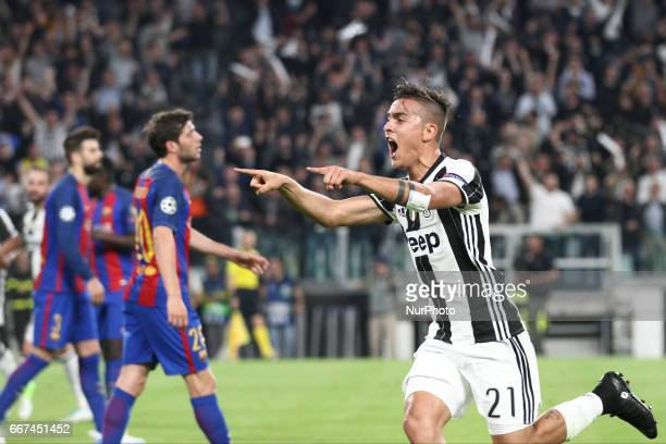 Juventus forward Paulo Dybala celebrates after scoring his goal during the Uefa Champions League quarter finals football match JUVENTUS BARCELONA on...