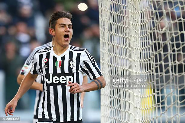 Juventus' forward Paulo Dybala from Argentina celebrates after scoring during the Italian Serie A football match Juventus Vs Hellas Verona on January...