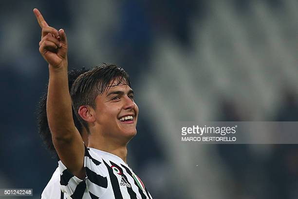 Juventus' forward Paulo Dybala from Argentina celebrates at the end of the Italian Serie A football match Juventus vs Fiorentina on December 13 2015...