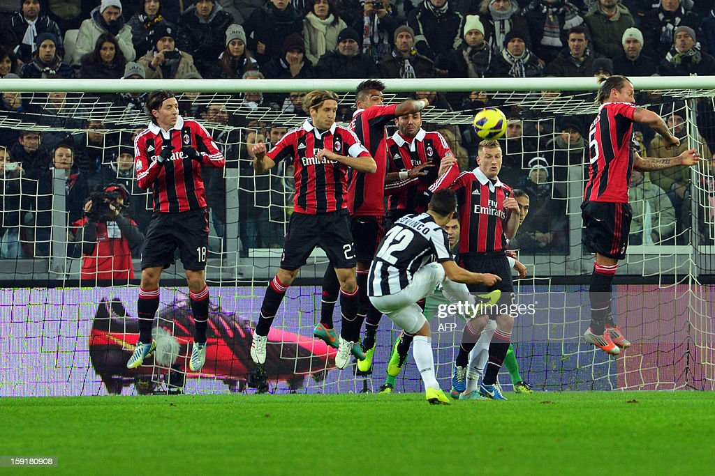 Juventus' forward Sebastian Giovinco shoots and scores a free kick during the Italian Cup football match between Juventus and AC Milan at the 'Juventus Stadium' in Turin on January 9, 2012.
