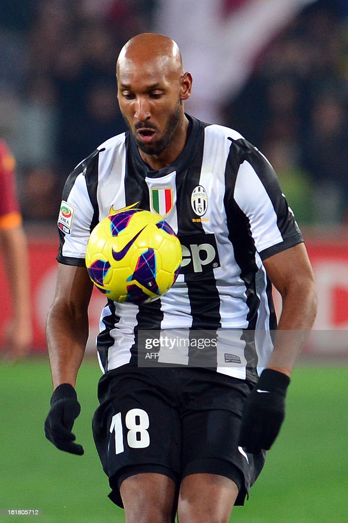 Juventus' French forward Nicolas Anelka reacts during the Italian Serie A football match between AS Roma and Juventus on February 16, 2013 at the Olympic Stadium in Rome. AS Roma defeated Juventus 1-0. AFP PHOTO / GABRIEL BOUYS