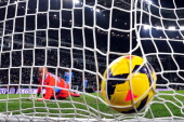 Juventus' French midfielder Paul Labile Pogba kicks and scores passed Napoli Jose Reina during the Italian Serie A match between Juventus and Napoli...