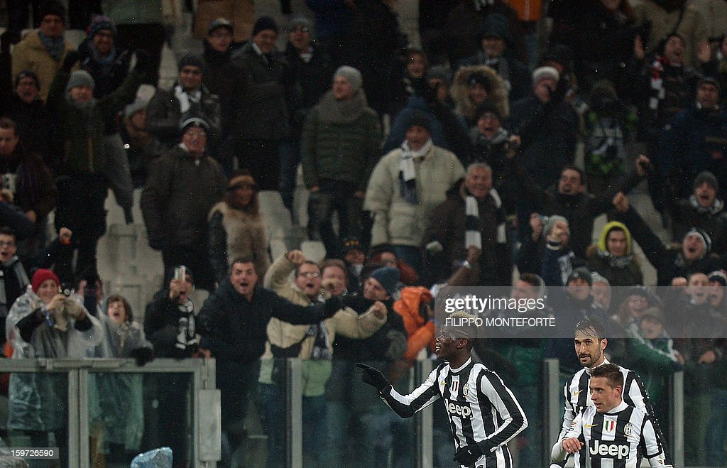 Juventus' French midfielder Paul Pogba celebrates after scoring against Udinese during their Serie A football match in Turin's Juventus Stadium on January 19, 2013.