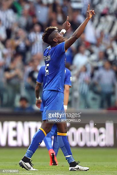 Juventus' French midfielder Paul Pogba celebrates after scoring during the Italian Serie A football match between Juventus and Cagliari at the...