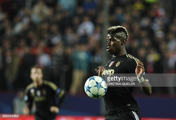 Juventus' French midfielder Paul Pogba controls the ball during the UEFA Champions League Group D football match Sevilla FC vs Juventus at the Ramon...