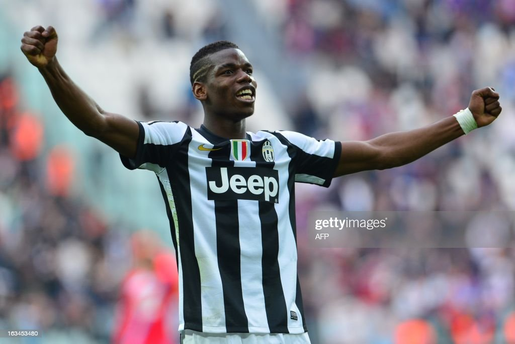 Juventus French midfielder Paul Pogba reacts during the Italian Seria A football match between Juventus and Catania at the 'Juventus Stadium' in Turin on March 10, 2013.