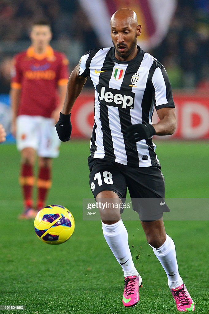 Juventus' Frenchman forward Nicolas Anelka controls the ball during the Italian Serie A football match between AS Roma and Juventus on February 16, 2013 at the Olympic Stadium in Rome. AS Roma defeated Juventus 1-0.