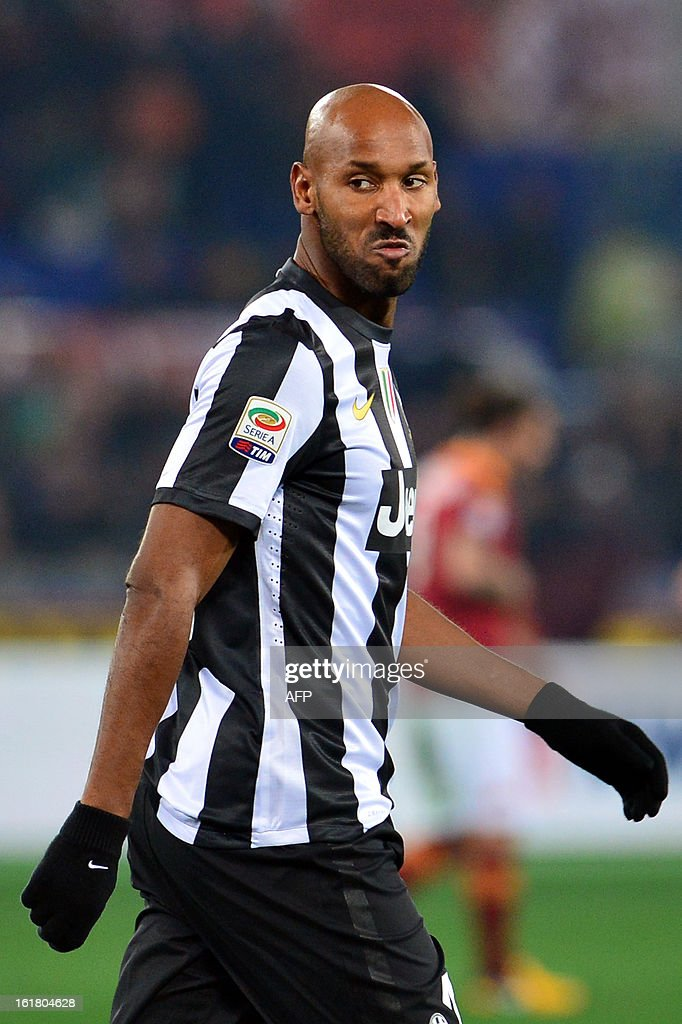 Juventus' Frenchman forward Nicolas Anelka looks on during the Italian Serie A football match between AS Roma and Juventus on February 16, 2013 at the Olympic Stadium in Rome.
