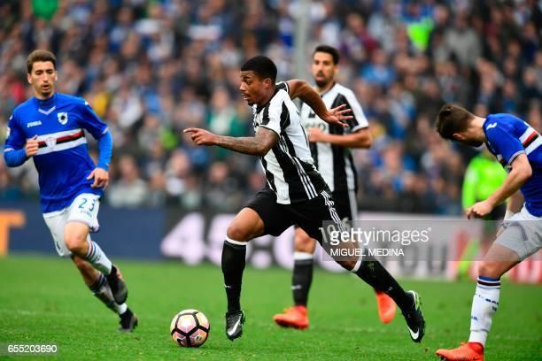 Juventus' Gabonese midfielder Mario Lemina controls the ball during the Italian Serie A football match Sampdoria versus Juventus on March 19 2017 at...