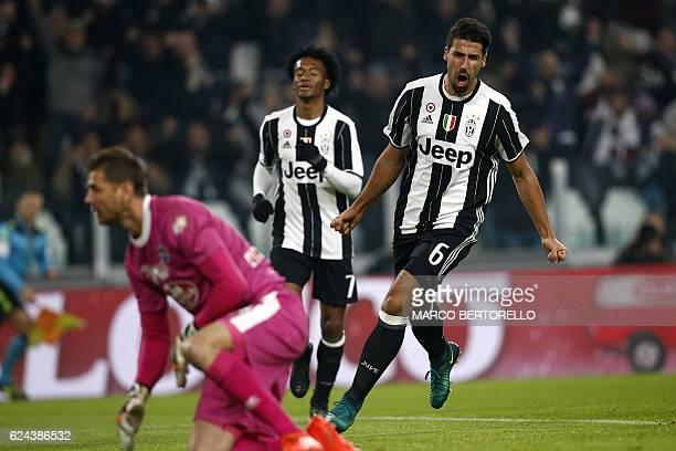 Juventus' German midfielder Sami Khedira celebrates after scoring a goal during the Italian Serie A football match between Juventus and Pescara at...