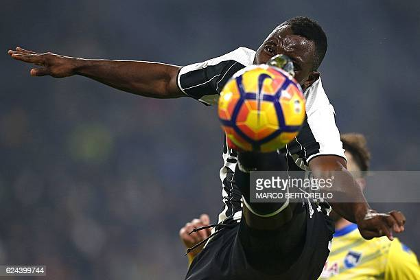TOPSHOT Juventus' Ghanaian midfielder Kwadwo Asamoah eyes the ball during the Italian Serie A football match between Juventus and Pescara at the...