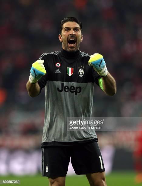 Juventus' Gianluigi Buffon celebrates his side's second goal
