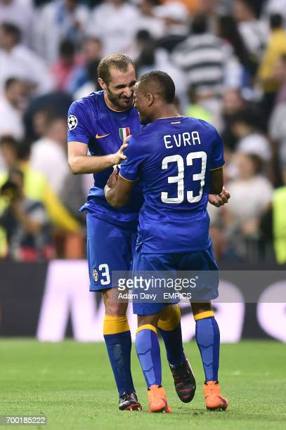 Juventus' Giorgio Chiellini and Patrice Evra celebrate their side's aggregate victory over Real Madrid