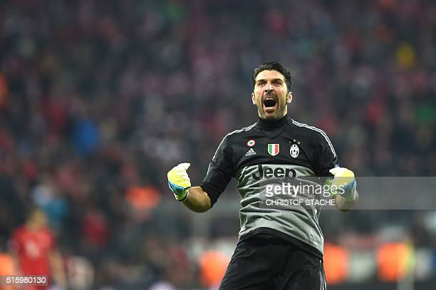 Juventus' goalkeeper and captain Gianluigi Buffon celebrates after a goal scored by his team during the UEFA Champions League Round of 16 second leg...