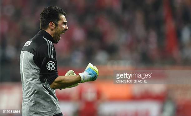 Juventus' goalkeeper and captain Gianluigi Buffon celebrates after the second goal of his team during the UEFA Champions League Round of 16 second...