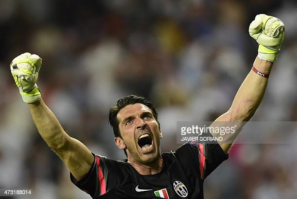 Juventus' goalkeeper and captain Gianluigi Buffon celebrates winning the UEFA Champions League semifinal second leg football match Real Madrid FC vs...