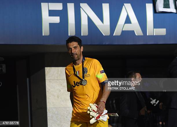 Juventus' goalkeeper and captain Gianluigi Buffon leaves the pitch after the UEFA Champions League Final football match between Juventus and FC...