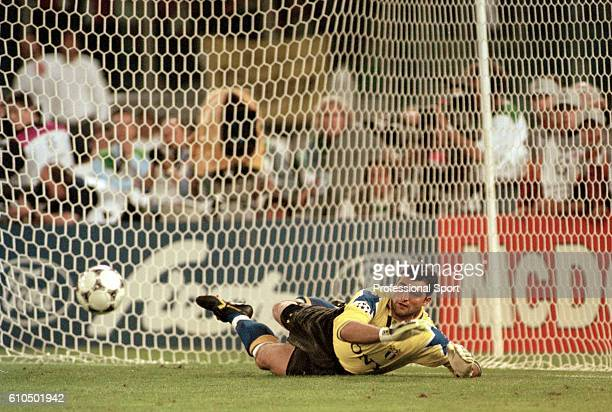 Juventus goalkeeper Angelo Peruzzi saving a penalty during the shoot out to decide the UEFA Champions League Final between Ajax and Juventus at the...