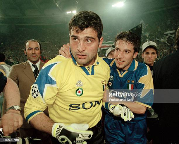 Juventus goalkeeper Angelo Peruzzi with his team mate Alessandro Del Piero after the UEFA Champions League Final between Ajax and Juventus at the...