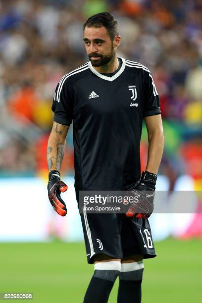Juventus goalkeeper Carlo Pinsoglio prior to the start of the International Champions Cup match against Paris St Germain at Hard Rock Stadium in...