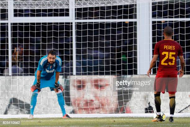 Juventus goalkeeper Carlo Pinsoglio waits for the whistle as Roma defender Bruno Peres lines up for his penalty kick during an International...
