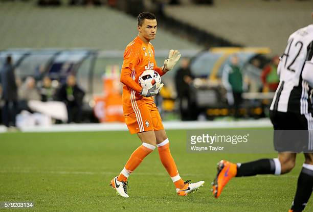 Juventus goalkeeper Emil Audero holds the ball during the 2016 International Champions Cup Australia match between Melbourne Victory FC and Juventus...