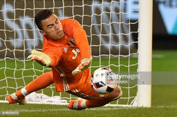 Juventus' goalkeeper Emil Audero makes a save during the International Champions Cup football match between Italy's Serie A team Juventus and...