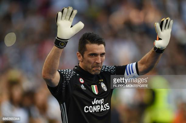 Juventus' goalkeeper from Italy Gianluigi Buffon celebrates after winning the Italian Serie A football match Juventus vs Crotone and the 'Scudetto'...