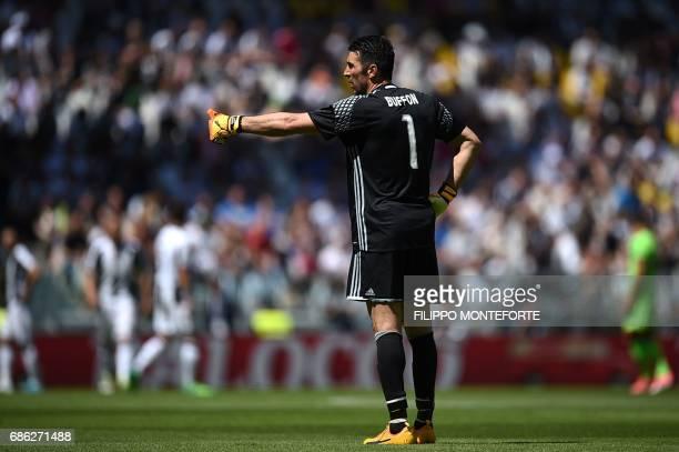 Juventus' goalkeeper from Italy Gianluigi Buffon gestures during the Italian Serie A football match Juventus vs Crotone at the Juventus Stadium in...