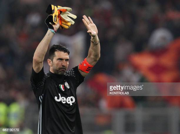 Juventus' goalkeeper from Italy Gianluigi Buffon greets fans at the end of the Italian Serie A football match AS Roma vs Juventus FC at the Olimpico...
