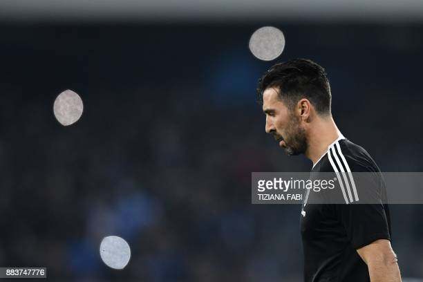 Juventus' goalkeeper from Italy Gianluigi Buffon looks on before the Italian Serie A football match Napoli vs Juventus on December 1 2017 at the San...