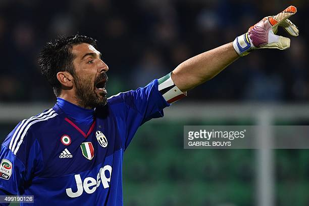 Juventus' goalkeeper from Italy Gianluigi Buffon reacts during the Italian Serie A football match between Palermo and Juventus on November 29 2015 at...