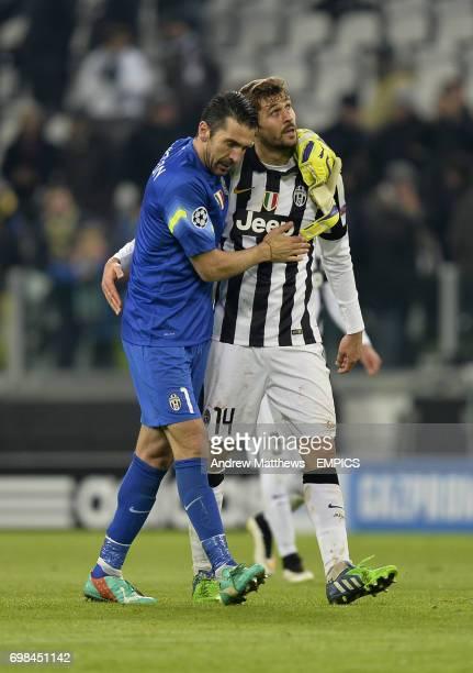 Juventus goalkeeper Gianlugi Buffon and Fernando Llorente celebrate after the final whistle