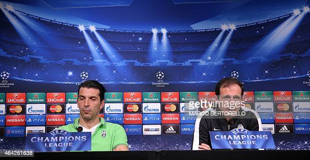 Juventus goalkeeper Gianluigi Buffon and coach Massimiliano Allegri give a press conference on February 23 2015 on the eve of the last 16 firstleg...