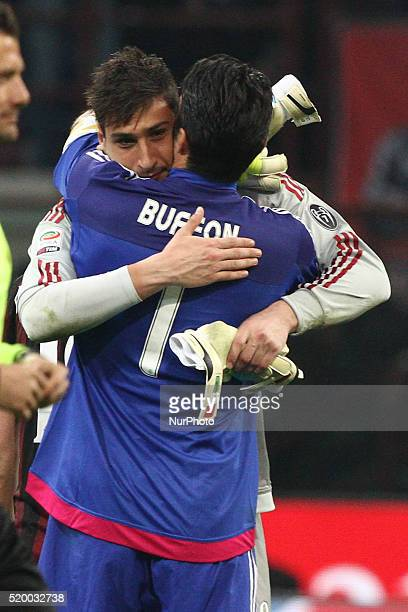Juventus goalkeeper Gianluigi Buffon and Milan goalkeeper Gianluigi Donnarumma after the Serie A football match n32 MILAN JUVENTUS on 09/04/16 at the...