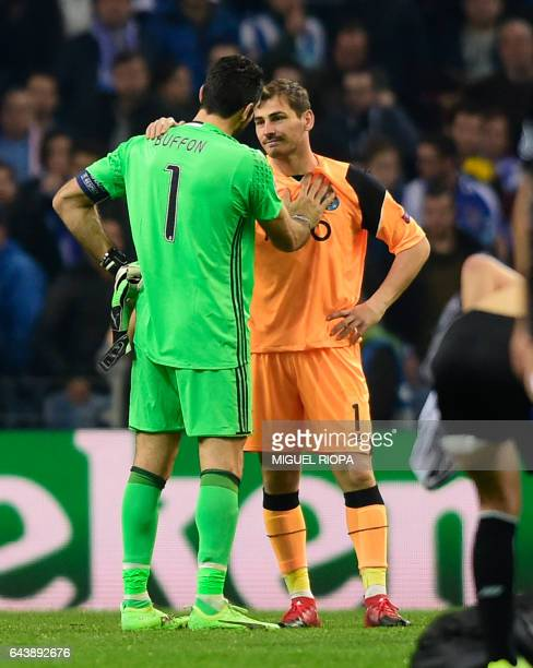Juventus' goalkeeper Gianluigi Buffon and Porto's Spanish goalkeeper Iker Casillas greet one another at the end of the UEFA Champions League round of...