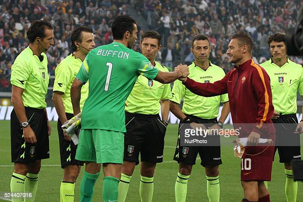 Juventus goalkeeper Gianluigi Buffon and Roma forward Francesco Totti during the Serie A football match n6 JUVENTUS ROMA on 05/10/14 at the Juventus...