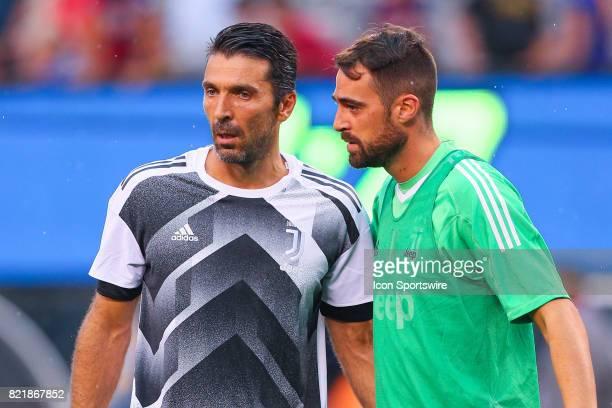 Juventus goalkeeper Gianluigi Buffon and teammate Juventus goalkeeper Carlo Pinsoglio during halftime of the International Champions Cup soccer game...