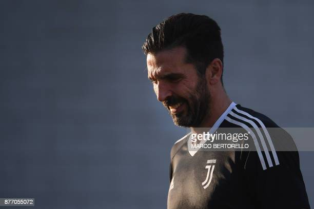 Juventus' goalkeeper Gianluigi Buffon attends a training session on the eve of the UEFA Champions League football match Juventus Vs Barcelona on...