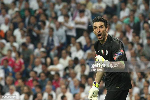 Juventus goalkeeper Gianluigi Buffon celebrates after Juventus forward Alvaro Morata scoring his goal during the Uefa Champions League semi finals...