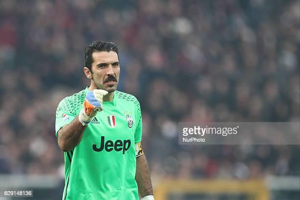 Juventus goalkeeper Gianluigi Buffon celebrates during the Serie A football match n16 TORINO JUVENTUS on at the Stadio Olimpico Grande Torino in...