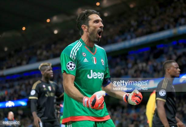 Juventus goalkeeper Gianluigi Buffon celebrates his sides win after the final whistle