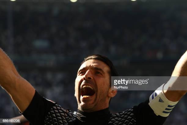 Juventus goalkeeper Gianluigi Buffon celebrates victory after the Serie A football match n37 JUVENTUS CROTONE on at the Juventus Stadium in Turin...