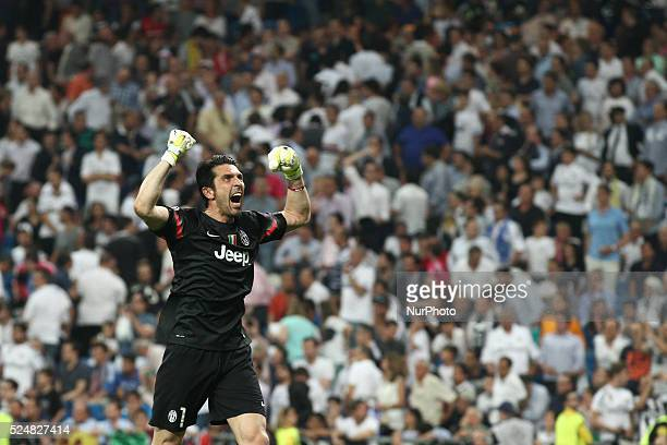 Juventus goalkeeper Gianluigi Buffon celebrates victory after the Uefa Champions League semi finals football match REAL MADRID JUVENTUS on 13/05/15...