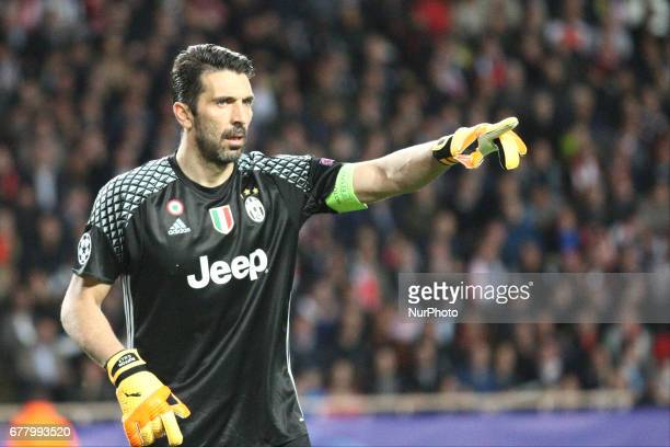 Juventus goalkeeper Gianluigi Buffon during the Uefa Champions League semi finals football match MONACO JUVENTUS on at the Stade Louis II in Monaco...