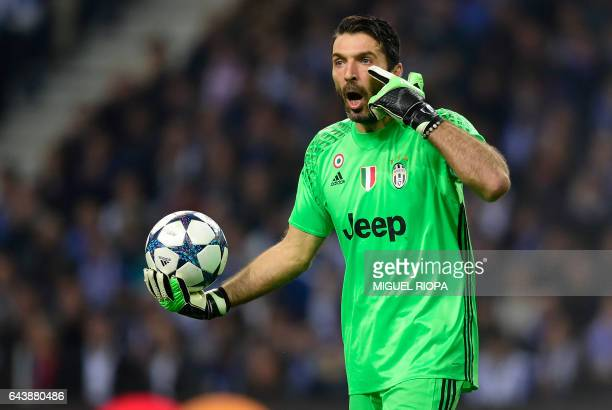 Juventus' goalkeeper Gianluigi Buffon gestures during the UEFA Champions League round of 16 second leg football match FC Porto vs Juventus at the...