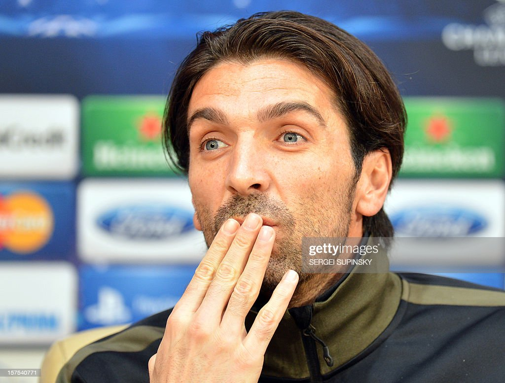 Juventus goalkeeper Gianluigi Buffon gives a press-conference in Donetsk on December 4, 2012, on the eve of the UEFA Champions League football match Juventus Turin vs FC Shakhtar Donetsk.